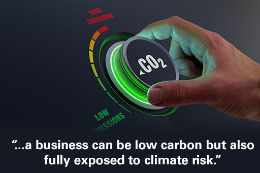 """Hand turning CO2 emissions dial to low with text overlaid """"a business can be low carbon but also fully exposed to climate risk"""""""