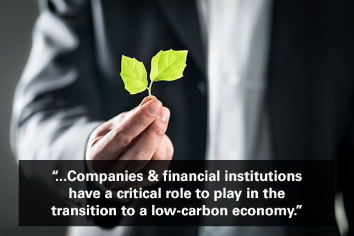 """Businessman in suit holding green leaf with text overlaid """"companies and financial institutions have a critical role to play in the transition to a low-carbon economy."""""""