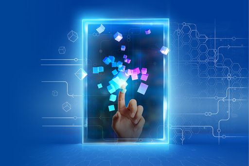 Graphic with hand in neon window