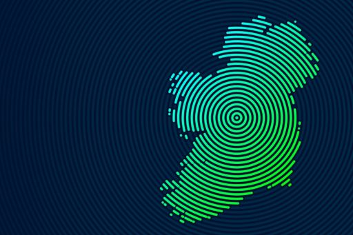 Abstract map of Ireland with circle lines