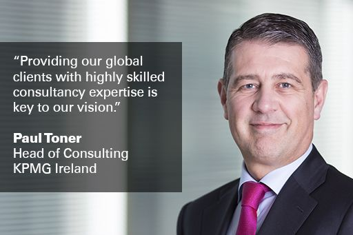 """Image of Paul Toner, Head of Consulting, with text overlaid, """"Providing our global clients with highly skilled consultancy expertise is key to our vision"""""""