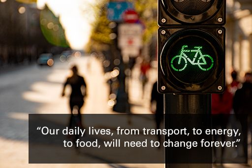 Cyclist and bicycle traffic light, with text overlaid: Our daily lives, from the transport we take, to the energy we use to heat our homes, to the way we grow the food we eat, will need to change forever.