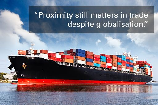 """Image of plane sitting on cardboard boxes with quote overlaid ▪""""Proximity still matters in trade despite globalisation and trade friction with your nearest neighbour has consequences for everyone."""""""