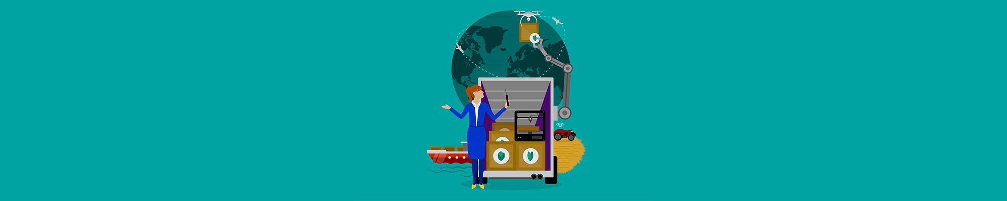 Image of warehouse manager standing in front of delivery vehicles, robots, boats and wifi enabled farm machines, with the globe in the background