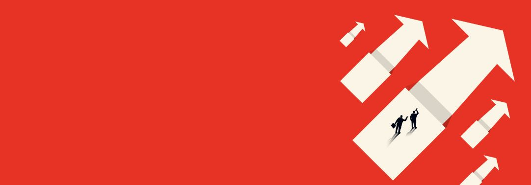 Illustration of business executives standing on white arrows on red background