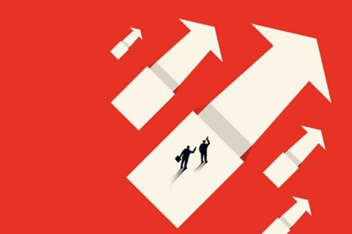 Illustration of business executives standing on white arrow on red background