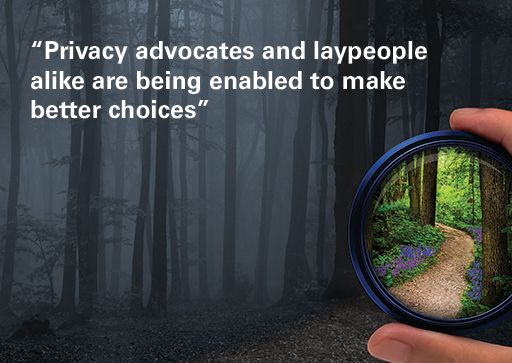 """Photo lens held over dark wood to reveal daylight, with quote overlaid: """"Privacy advocates and laypeople alike are being enabled to make better choices"""""""