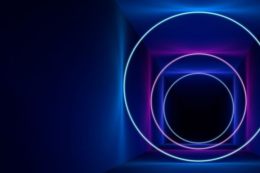 ignition circle lines in blue and purple against dark background