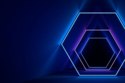 ignition hexagon lines in blue and purple against dark background