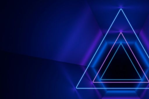 ignition triangle lines in blue and purple against dark background