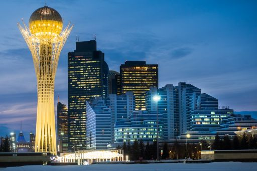 Illuminated buildings at astana city kazakhstan