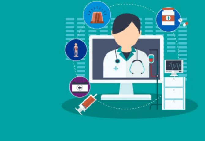 Illustration of doctor on computer screen with healthcare equipments around