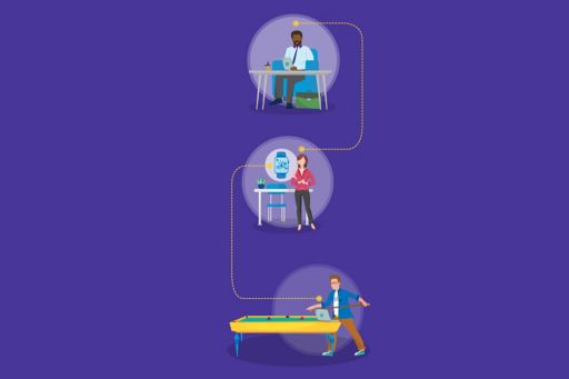Illustration of employees working on laptop, having leisure time and playing pool in office