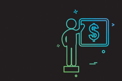 Illustration of a person pointing at a dollar sign on a board