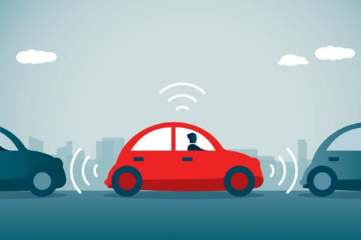 Illustration of a red car with sensors between two blue cars