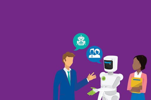 Illustration of a white robot and two people on a purple background