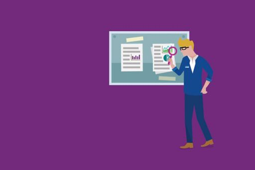 Illustration scout with magnifying glass on purple background