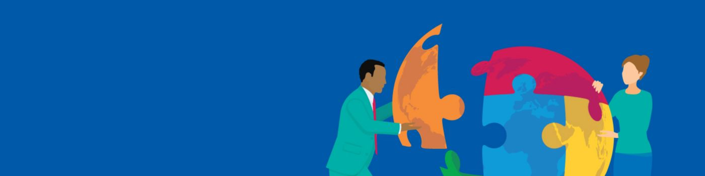 Illustration of two business people joining puzzle to create a globe