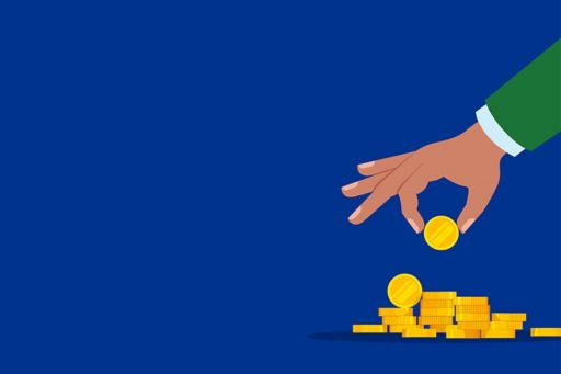 Illustrations of hand picking gold coins
