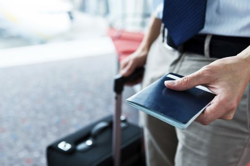 Traveller holding a passport
