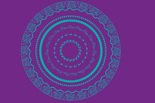 Indigenous Australia circle design – purple and teal