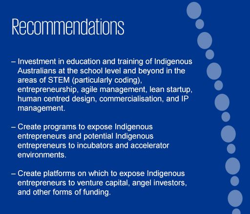 Recommendations on how to assist Indigenous entrepreneurs