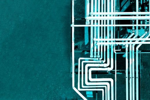 Overhead view of industrial pipes