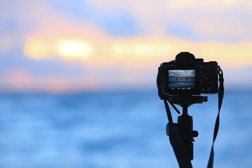 Camera with sunset