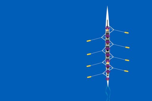 Rowers on blue background