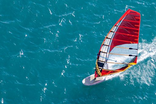Financial instruments | High angle image of a windsurfer on the open water
