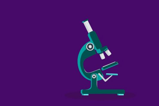 Microscope illustration against purple background