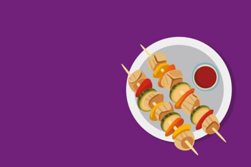Illustration of kebabs on purple background