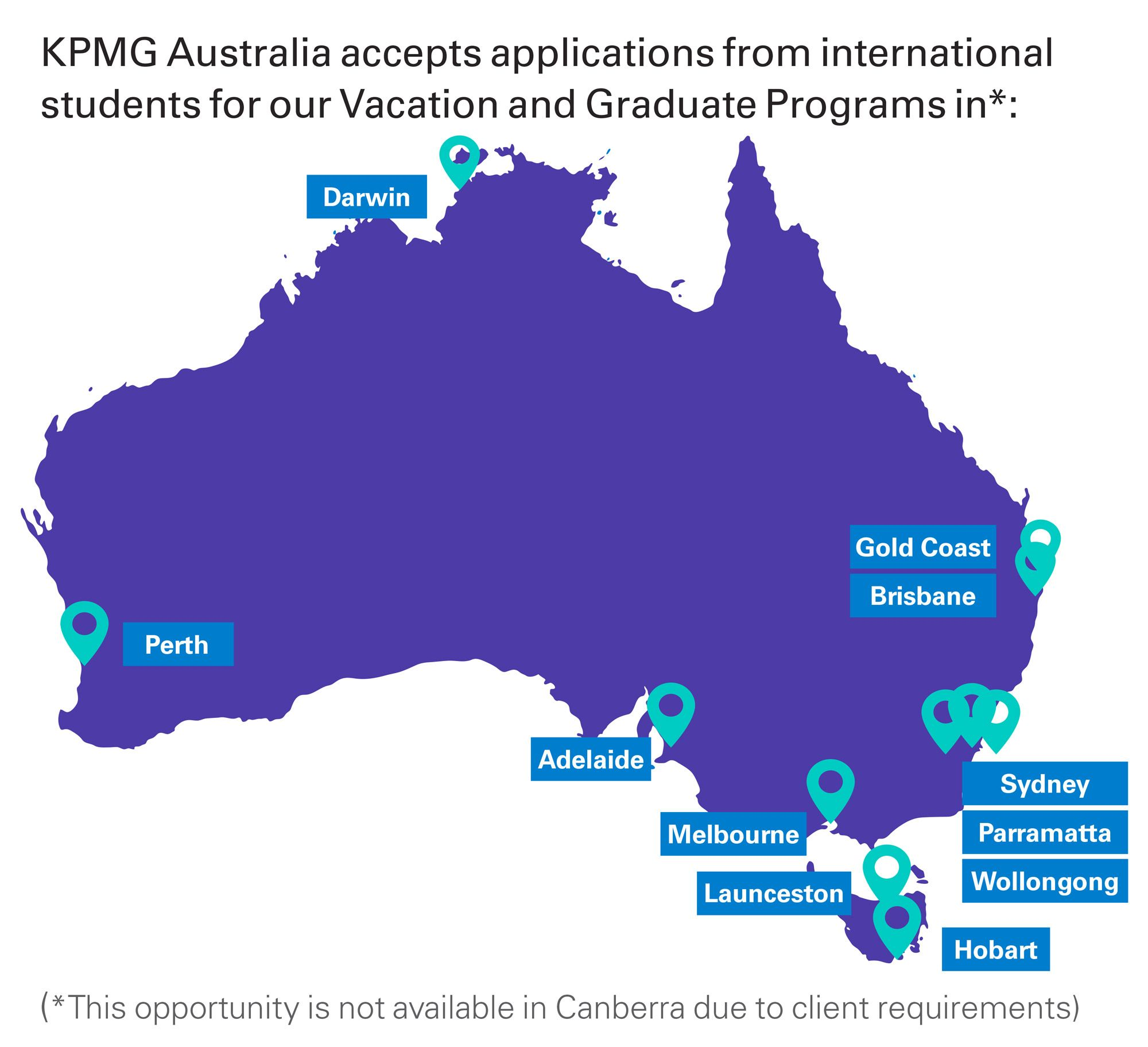 Australian map of where international students can apply