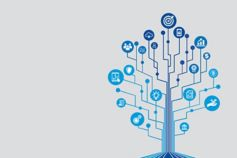 KPMG blue tree of financial services and technology icons