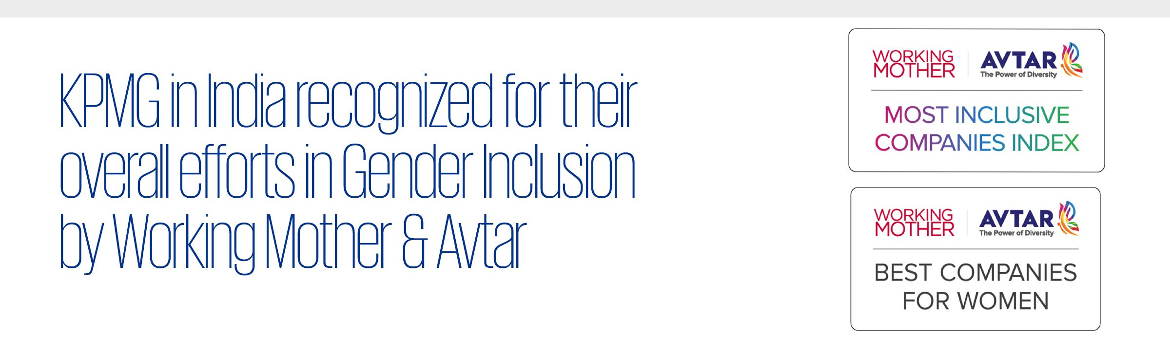KPMG in India recognized for their overall efforts in Gender Inclusion