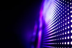 lights on black wall in pink and purple