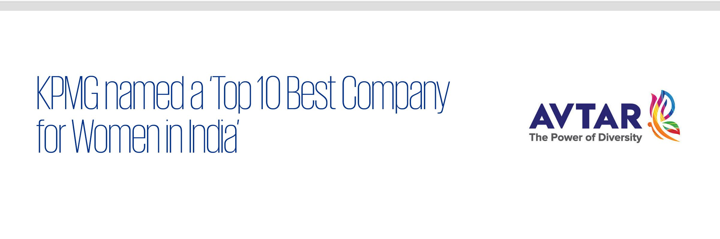 KPMG named a Top 10 Best Company for Women in India