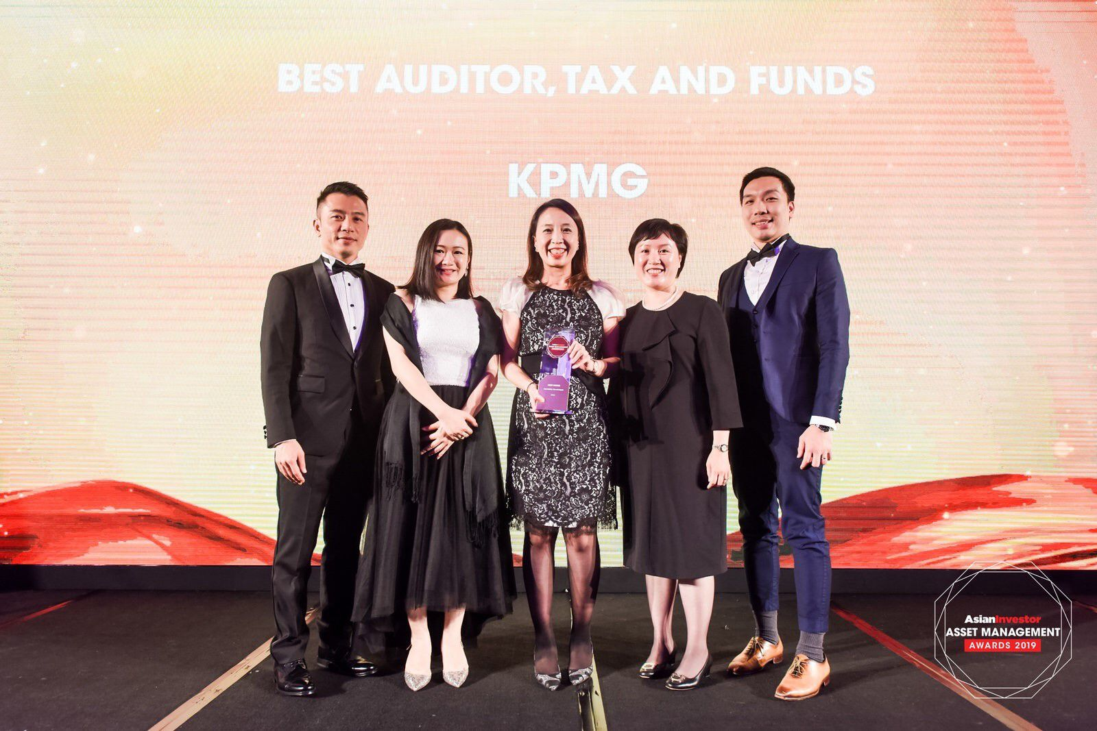 KPMG partners on the stage at the AsianInvestor Asset Management Awards 2019