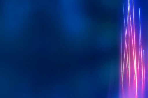 Pink and purple neon lights on a dark blue background