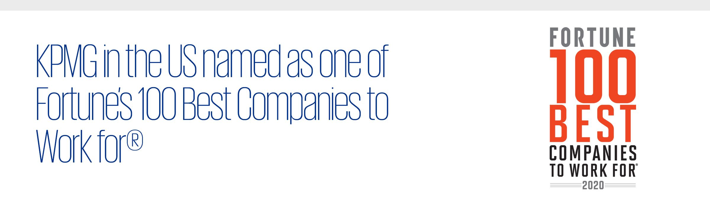 KPMG in the US named as one of FORTUNE's 100 Best Companies to Work For®