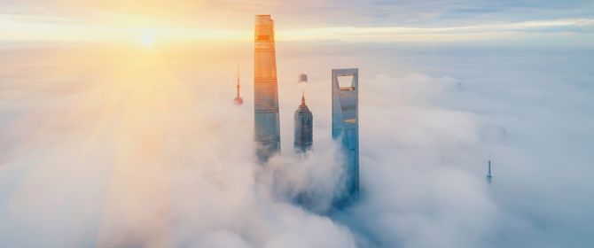Aerial View Of Shanghai at sunrise