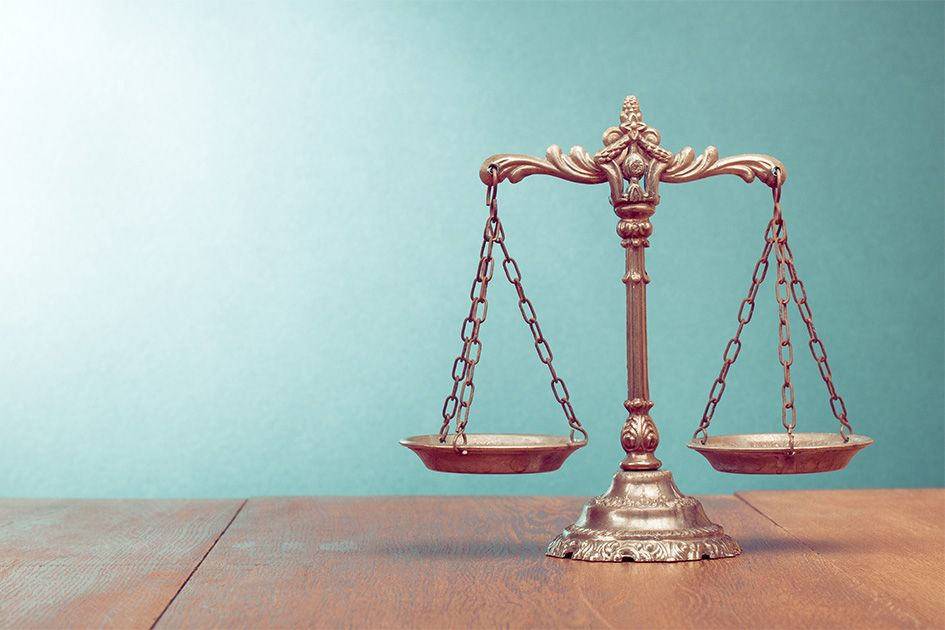 law scale on table