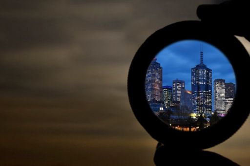 Looking at a city through a magnifying glass
