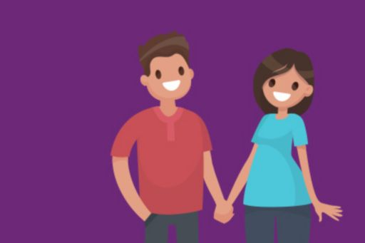 Illustration of a couple holding hands