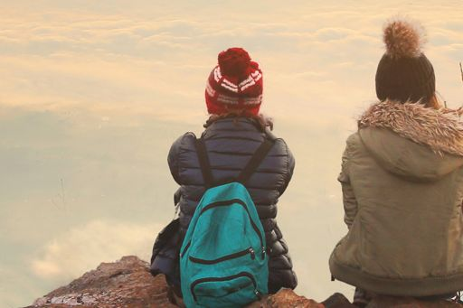 2 children on top of a mountain