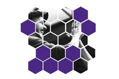 man high fiving purple hexagons