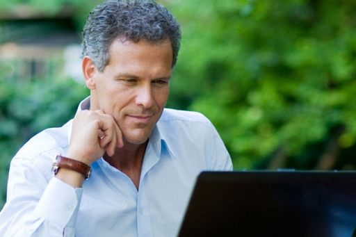 Man looking at laptop