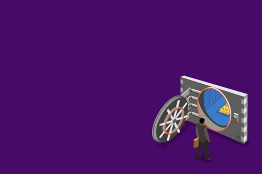 man-standing-in-front-of-gold-storage-container-against-purple-background-illustration