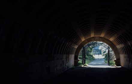 View to the road from tunnel
