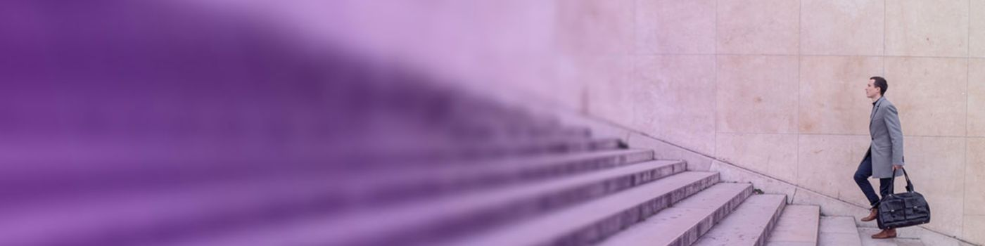 Financial Crime - Man with bag climbing stairs purple background